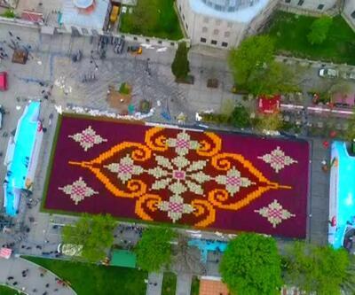 Dünyanın en büyük lale halısı böyle görüntülendi