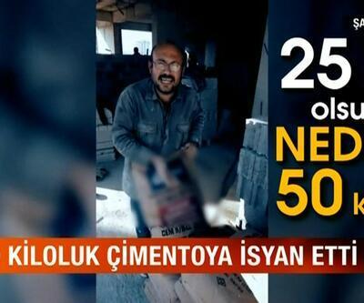 İnşaat işçisi 50 kiloluk çimentoya böyle isyan etti
