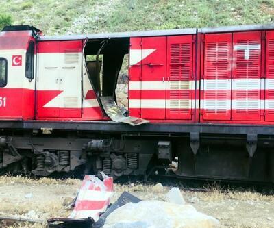 Yük treninin üzerine kaya düştü