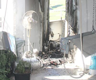 Rezidansta kenevir serası kuran üniversiteliyi yangın ele verdi