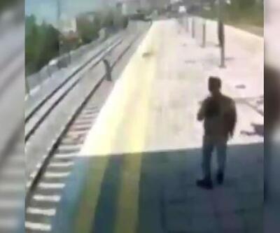 Küçükçekmece'de intihara kalkışan kadını tren önünden son anda kurtardı