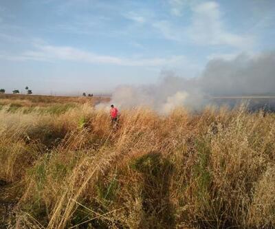 Mayınlı arazide çıkan yangın 5 saatte kontrol altına alındı