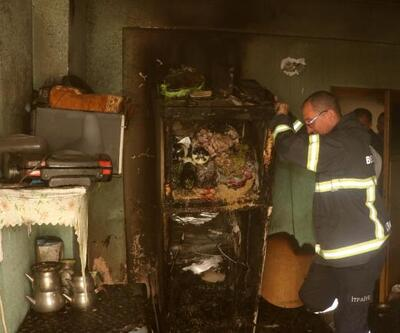 Buzdolabından çıkan yangın korkuttu