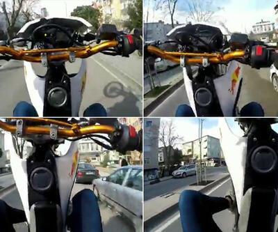 Üsküdar'da motosikletlinin 'tek teker terörü' kamerada