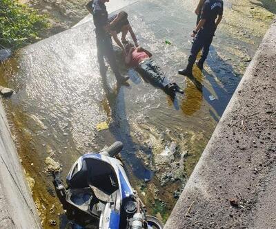 Motosikletiyle dere yatağına düşüp yaralandı