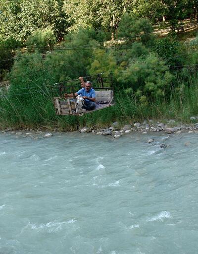 Kurbanlık keçiyi, Çoruh Nehri'nden ilkel teleferikle geçirdi