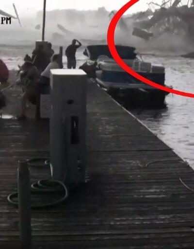 Kasırga marinayı böyle yıktı