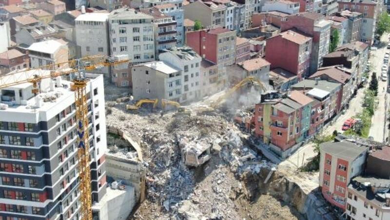 Kağıthane'de devam eden yıkım havadan görüntülendi