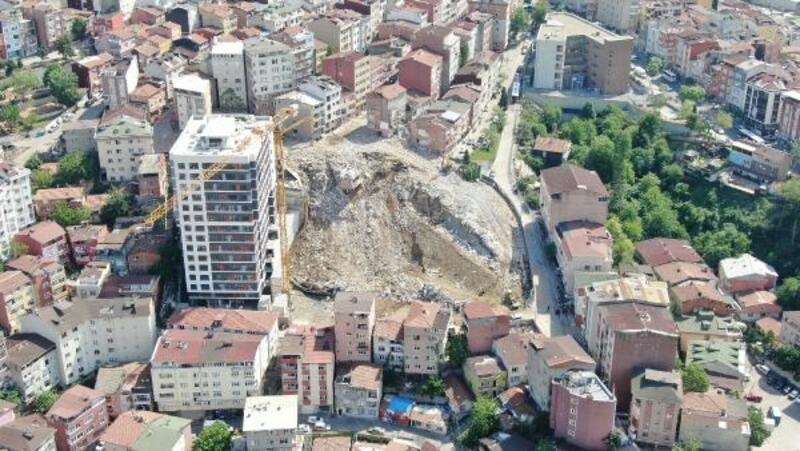 Kağıthane'de yıkımı yapılan binalarda son durum havadan fotoğraflandı