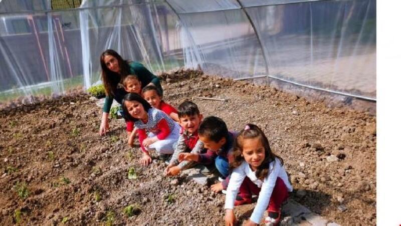 Altınyayla'daki okulların bahçelerine sera yapıldı