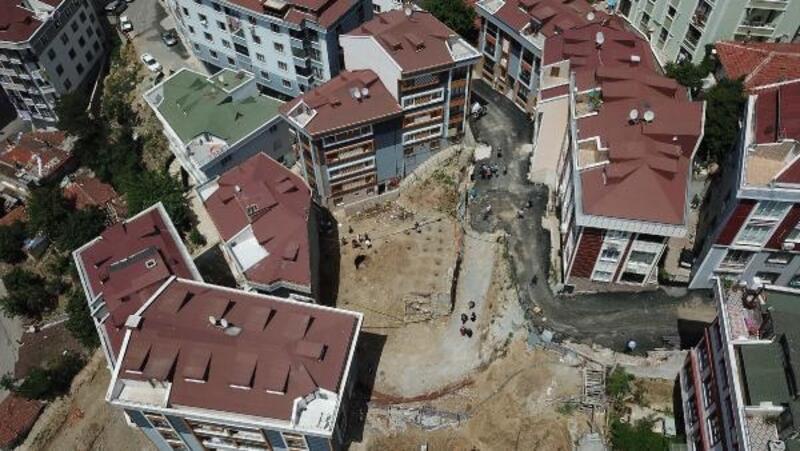 Eyüpsultan'da çukura düşen çocuğun öldüğü inşaat alanının havadan fotoğrafı