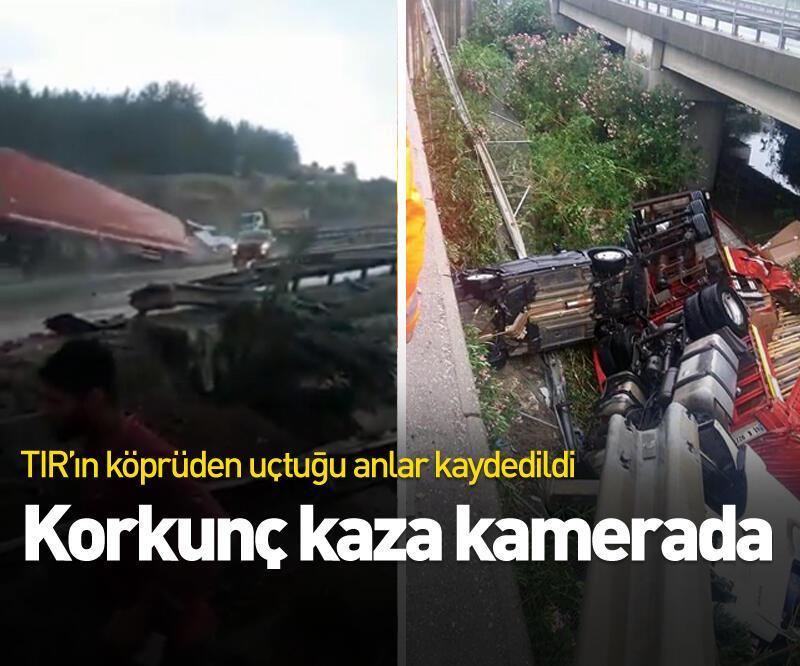 Son dakika: TIR ile çarptığı otomobil köprüden uçtu: 3 yaralı